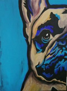 90×120 cm Acrylic painting French bulldog