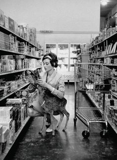 Audrey Hepburn Shopping With Pet Deer