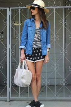 chambray button down__mixed prints__black and white__sneakers