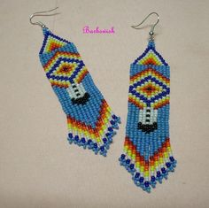 Native American Seed Bead Patterns | Native American Style Seed Bead Earrings Hand Woven by ... | Earrings