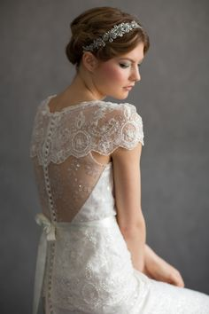 Flora  by Sharon Hoey. Beaded and sequin tulle vintage style gown.