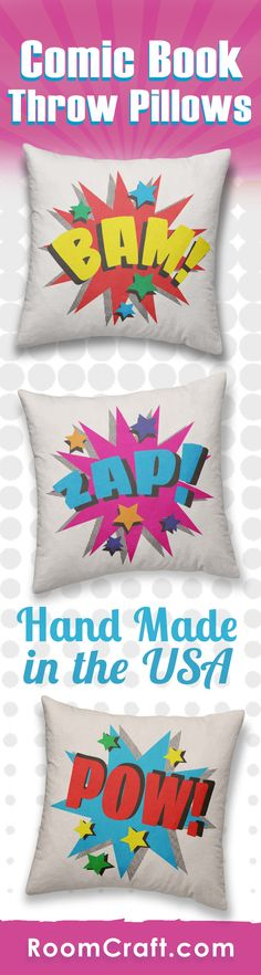 Bam! Pow! Kaboom! Help your little superhero fight crime with these comic book throw pillows. Each vibrant design is offered in multiple fabrics, colors, and sizes making them the perfect addition to any bedroom, game room, or man cave. Our quality superhero pillow covers are made to order in the USA and feature 3 wooden buttons on the back for closure. Choose your favorite and create a truly unique pillow set. #roomcraft
