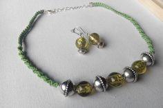 green bamboo macrame jewelry set necklace earrings. by terramor