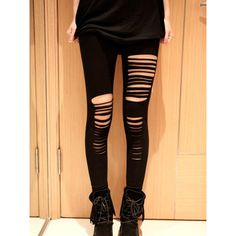 Black High Waist Sexy Ripped Bandage Strap Leggings ($19) ❤ liked on Polyvore featuring pants, leggings, bottoms, jeans, ripped pants, high-waisted leggings, high-waisted trousers, high-rise leggings and sexy pants