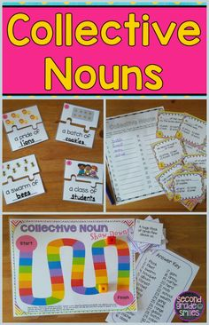 These hands-on collective nouns activities are perfect for meeting the 2nd grade Common Core Standard. Includes puzzles, a board, game, and task cards. These were a huge hit in my second grade literacy centers!