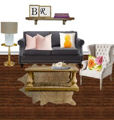 Grey couch, gold table, cheetah rug, pineapple pillow, floral pillows, rustic coffee table