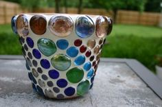 Colorful pebble embedded pot(: