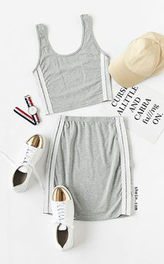 Online shopping for Heather Grey Double Scoop Neck Side Striped Tank Top With Skirt from a great selection of women's fashion clothing & more at MakeMeChic. Cute Spring Outfits, Cute Teen Outfits, Summer Fashion Outfits, Teenager Outfits, Outfits For Teens, Mode Bollywood, Black Girl Fashion, Striped Tank Top, Cute Baby Clothes