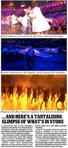 Tantalising photos of the rehearsal for the Opening Ceremony