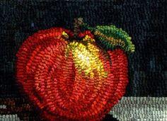 Cortland Apple designed and hooked by Karen Poetzinger from Woolen Tales Rug Art