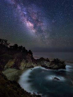 Incredible highlights from moonlight. Great photo capture. McWay Milky Way II - credit Toby Harriman