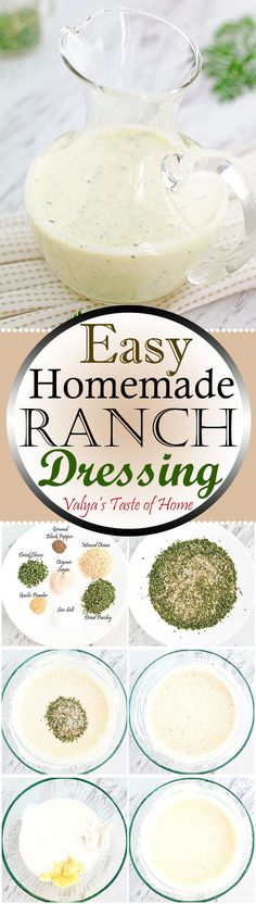 I prefer homemade ranch. I am sharing this recipe with you all, so you can enjoy this tasty and fresh dressing on your salads, dips, ets… made just out of few simple ingredients.  No chemicals, no preservatives and no artificial flavors. So quick and easy to make!