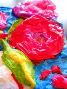 Tissue Paper and Glue Art | allow 48 hours or more to dry thoroughly before
