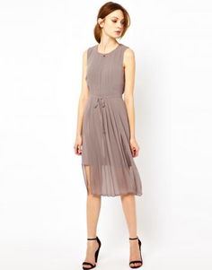 ASOS Warehouse Front Split Midi Dress in Mink looks stylish and chic.
