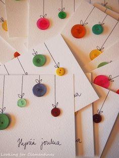 joulukortti nappi - Google-haku Handmade Christmas, Christmas Crafts, Christmas Decorations, Xmas, Diy For Kids, Crafts For Kids, Arts And Crafts, Button Crafts, Kids Cards