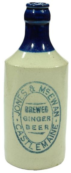 Jones & McEwan Brewed Ginger Beer Castlemaine. Antique stoneware blue top crown seal ginger beer bottle. c1920s