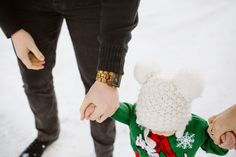 WINTER FAMILY PHOTOS from The Red Closet Diary Blog || Instagram: @ jalynnshcroeder ||winter clothing, christmas sweater, ugly christmas sweater, pom pom beanie, dog sweater, snow picture, christmas cards, layers, blue hair, green hair, Jord watch, wood watch