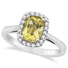 Cushion Cut Citrine & Diamond Halo Ring 14K White Gold (1.54ct)