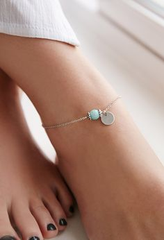 $4.90 Faux Turquoise Anklet | Forever 21 - 1000132225