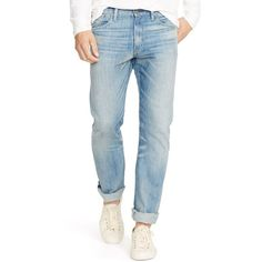Polo Ralph Lauren Men's Slim-Fit Lightweight Sherman-Wash Jeans ($90) ❤ liked on Polyvore featuring men's fashion, men's clothing, men's jeans, men, blue, mens lightweight jeans, mens slim fit jeans, polo ralph lauren mens jeans, mens faded jeans and mens polo jeans