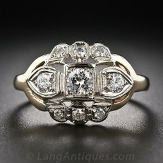 Two-Tone Gold Art Deco Diamond Ring - 10-1-6050 - Lang Antiques