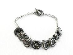 Vintage Black Glass Button Bracelet with Silver by SadiesSnippets, $25.00