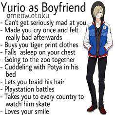 Yurio as Boyfriend Haikyuu, Kuroo, Boyfriend Best Friend, Anime Boyfriend, Boyfriend Boyfriend, Scenario Game, Birthday Scenario, Cute Anime Guys, Anime Boys