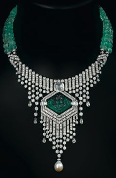 Cartier. Platinum necklace with emeralds, pearl, diamonds and onyx.