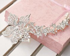 Large Flower Faux Pearl Rhinestone Crystal Wedding Bridal Long Hair Comb -CA #Wedding #Haircomb #Cheap #Ebay