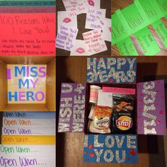 """Happy Anniversary Care Package. Open when letters, """"I miss my hero"""" on the bottom of the box, 100 reasons why I love you, lipstick kisses with our funny sayings on the back, take what you need with bible verses on the back. (Ex: Healing- 1Peter 2:24, Strength- Deuteronomy 31:6, Hope- Romans 12:12, Inspiration- John 16:13)"""