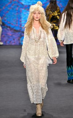 Gigi Hadid from Stars at New York Fashion Week Fall 2015  The model showcases another look at the Anna Sui fashion show.