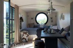 white oak iron brass inside a 12 39 classic shepherd hut in yellow pinterest