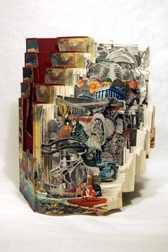 "Altered book art by Brian Dettmer: ""Vertical Knowledge"", 2009, Altered Books, 16"" x 13-3/4"" x 14"" - Image Courtesy of the Artist and Kinz + Tillou Fine Art"