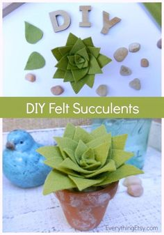 DIY Felt Succulent | Making faux succulents with felt is the perfect diy craft! Made by Kim Layton from Everything Etsy for TodaysCreativeLife.com