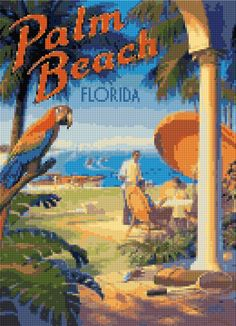 Cross stitch pattern Vintage Palm Beach travel poster PDF - New EASY chart with one color per sheet AND regular chart! Two charts in one! by HeritageCharts on Etsy