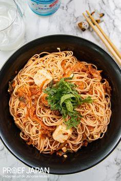 Somen noedels met kimchi en tofu | Proef Japan Kimchi, Tofu, Spaghetti, Food Porn, Ethnic Recipes, Noodle, Treats
