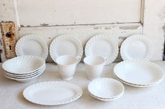 Vintage White Ironstone Bowl Plate Tea Cup 15-Piece Collection