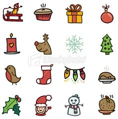 Christmas doodle icons Royalty Free Stock Vector Art Illustration