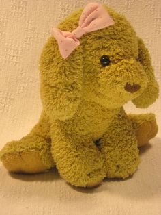 Stuffed Dog Tan Pink Bow With Brown Polka Dots SOFT Fuzzy 8 inches BRASS KEY EUC