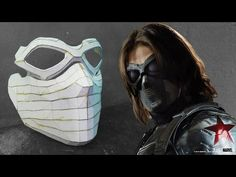 The Winter Soldier Mask Cardboard (Part Winter Soldier Mask, Winter Soldier Cosplay, Soldier Costume, Diy Costumes, Halloween Costumes, Cardboard Mask, Superhero Cosplay, New Warriors, Paper Mask