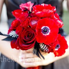Red Bouquet with red anemones, roses and ranunculus