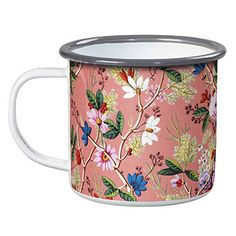 WWAV032/$14: Enamel mug features delicate 18th century wallpaper style pattern.   Holds 14 oz. of your favorite beverage.  Size: 3.1 x 4.5 x 3.5.  Not for use in microwave ovens.   Hand wash only.