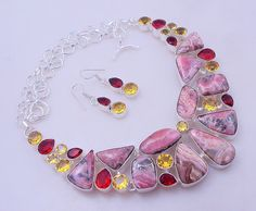 free shipping 94 gram stunning RHODOCHROSITE-CITRINE-GARNET .925 sterling silver handmade  necklace with earring by OCEANJEWELLERS on Etsy