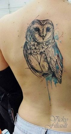 Blue+Color+Splash+Geometric+Owl+Tattoo