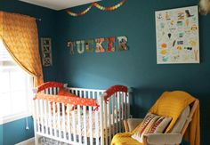 Tucker's cute #nursery designed by his mom, Maria, features #wanderer fabrics on the crib and windows.  All created at Miss Polly's Piece Goods~~