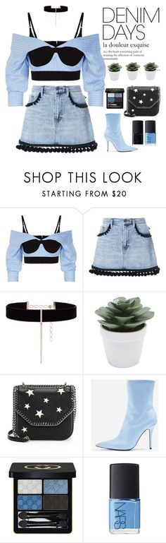 """""""Jean Dreams: Denim Skirts"""" by mymilla ❤ liked on Polyvore featuring Alexander Wang, Marc Jacobs, Diane Kordas, M&Co, STELLA McCARTNEY, Topshop, Gucci, NARS Cosmetics, denim and denimskirts"""