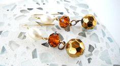 Pearl Gold Crystal Earrings Amber Beaded Earrings by mscenna