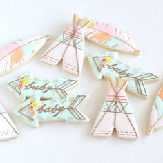 Bohemian party ideas! Love these teepee and arrow bohemian baby shower cookies 2dz Custom Bohemian Rustic Baby Shower Cookie favors