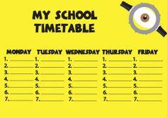 Plan lekcji Minions school timetable