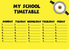 Plan lekcji Minions school timetable